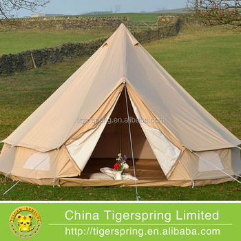 Diameter 5m outdoor canvas bell tent for sale buy large for Permanent camping tents