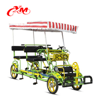 4 seater tandem bike with canvas cloth/ fun pedal with kids seats/4 Person Quadricycle Sightseeing Bike