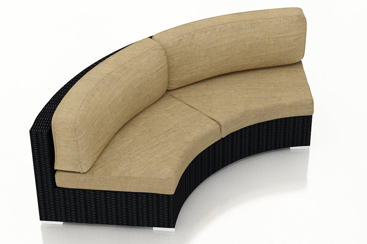 Harmonia Living Urbana Eclipse Outdoor Modern Wicker Curved Loveseat with Tan Sunbrella Cushions (SKU HL-URBN-E-CB-CLS-HB)