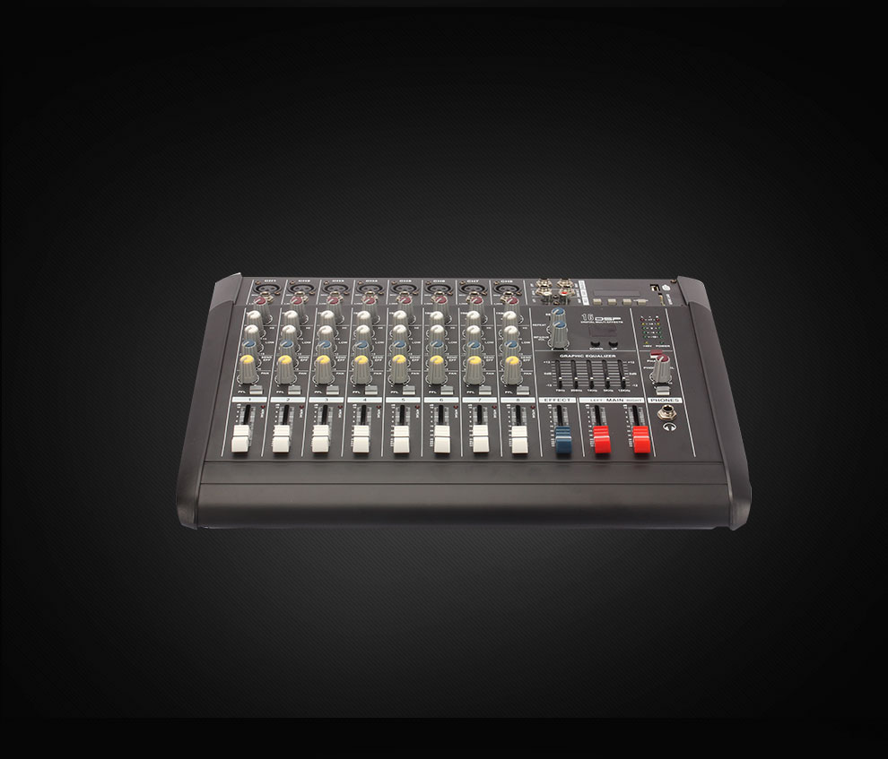 8 Channel professional sound audio power mixer effect sound usb interface controller digital echo amplifier mixer