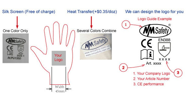 NMsafety ANSI corte A5 anti aderência en388 luvas de trabalho nitrílica revestimento de areia