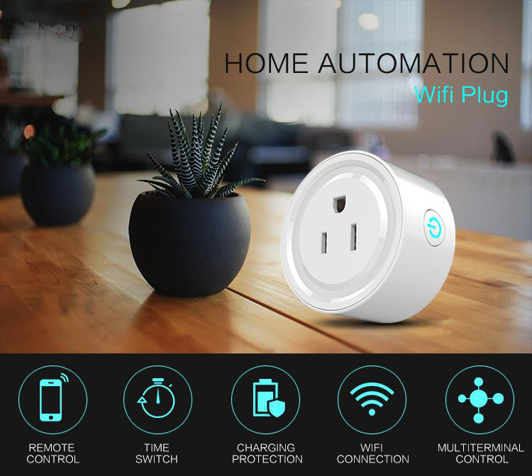 Hot-seller wifi smart mini power plug socket Amazon Alexa Echo supporting US standard power outlet wall mounted socket