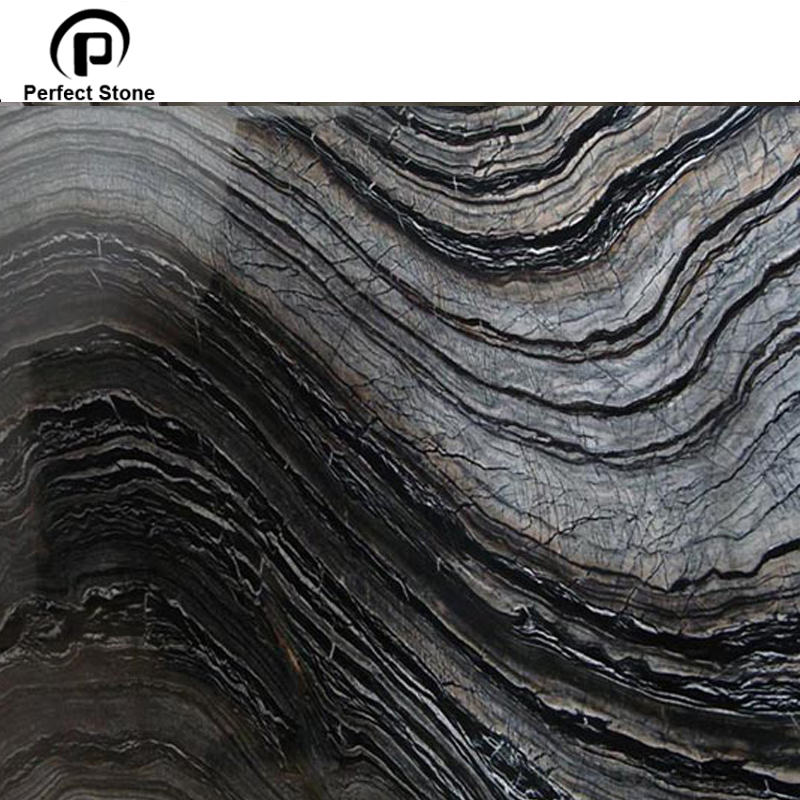 Chinese Zebra Forest Vein Black Marble Tile For Bathroom/Hotel With white vein