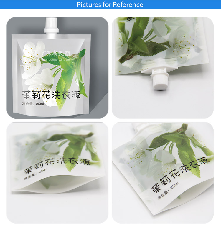 China factory supply customized small reused plastic bags shower gel liquid laundry doypack packaging with spout