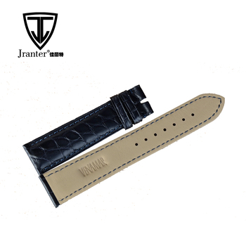 Black Genuine Crocodile Leather Wrist Watch Band For Men