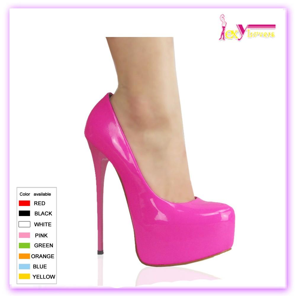Elegan Hitam Gaun Sepatu Tumit Tipis Platform Tinggi Wanita Vogue Pompa