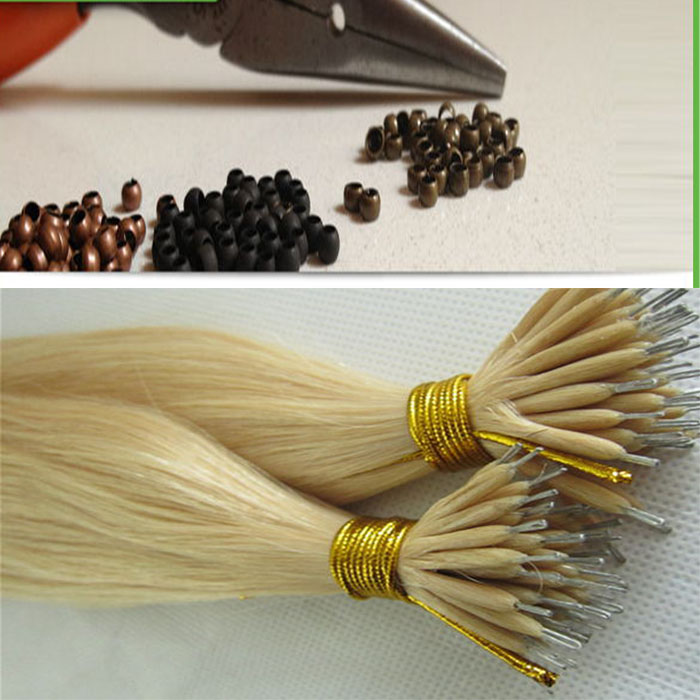 100% human Double Drawn European russian straight nano ring virgin remy hair extension More colors can be chosed