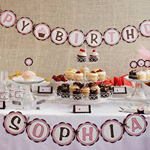 Cupcake HAPPY BIRTHDAY Banner - Girls Cupcake Birthday Party (Pink & Brown)