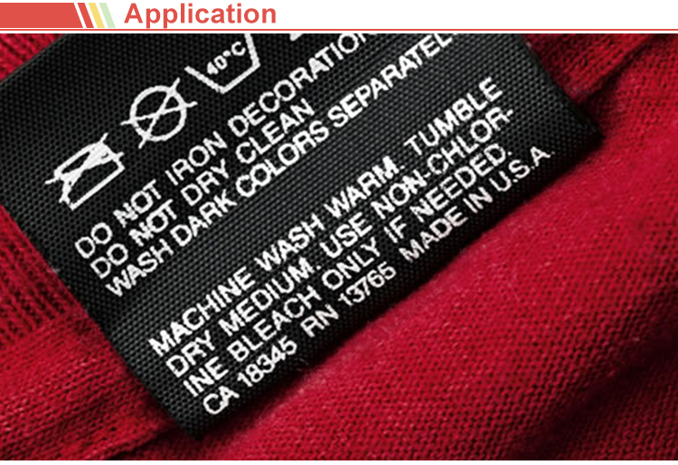 printed label for clothing washing instructions