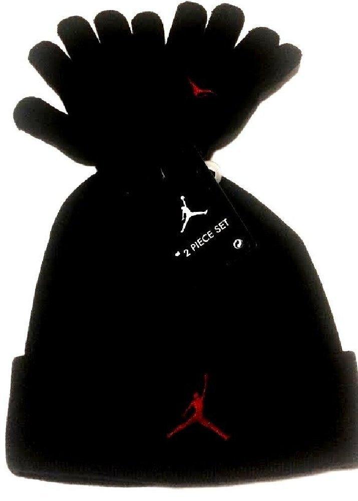 fa83386580e3ef Buy Nike Air Jordan Boys Winter Hat Beanie Cap Gloves Set Black Red ...