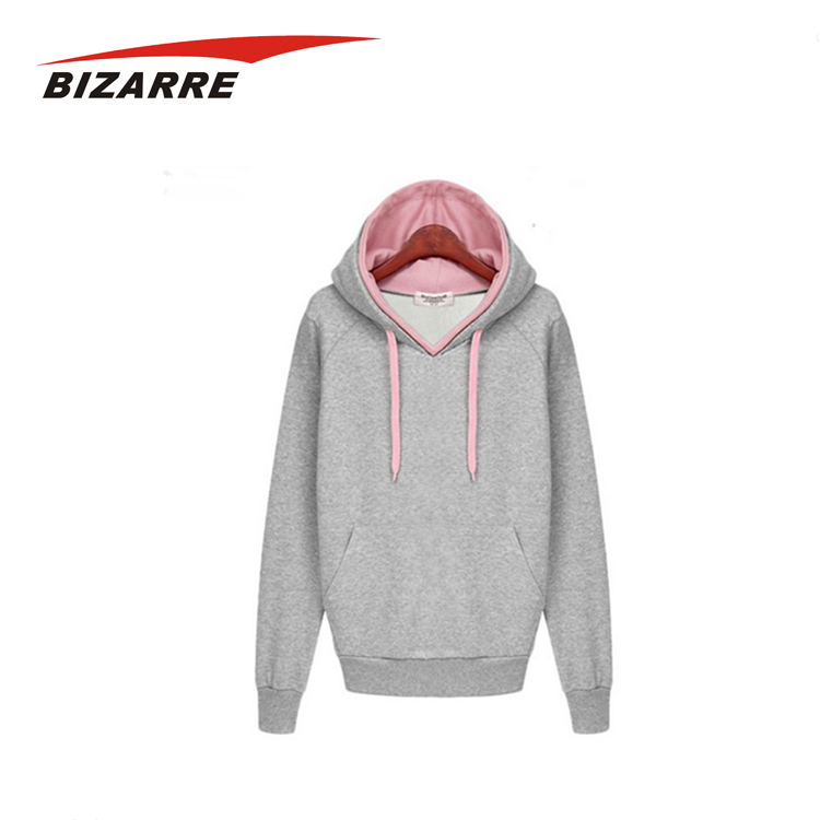 Custom logo heavyweight cotton plain pink blank thick hoodie