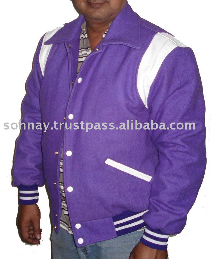 Purple All Wool Varsity Jacket / Letterman Jacket / Baseball Jacket