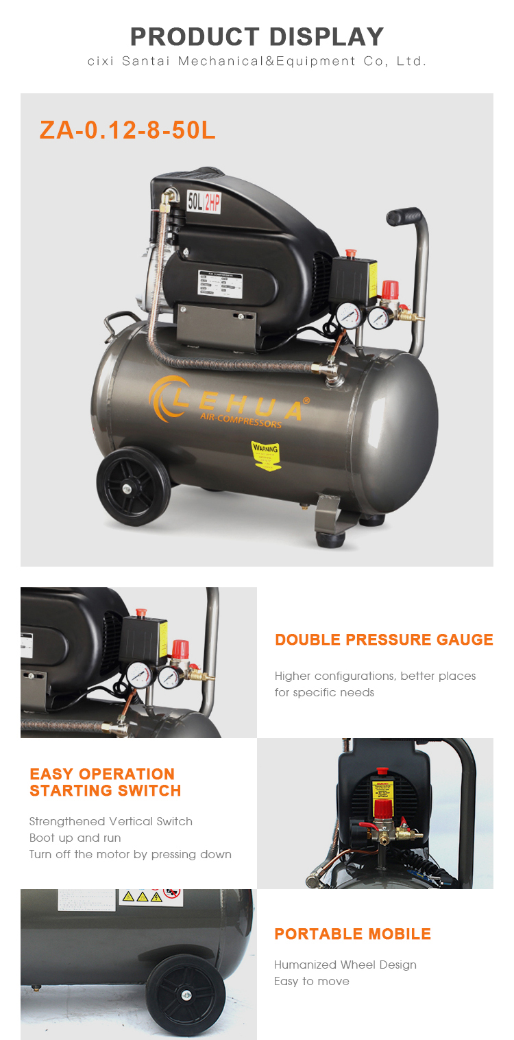 top quality 2HP 50L direct driven piston air compressor with ce certificate