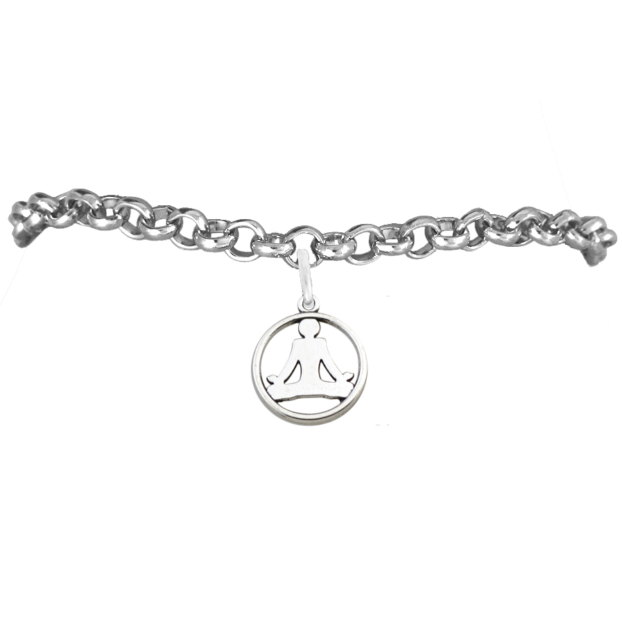 Hot sale zinc alloy antique silver plated yoga sign sports style charm chunky flat chain bracelets