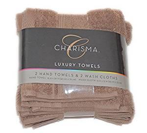 Charisma 4pk Luxury Towels Set: 2 Hand Towels & 2 Wash Cloths , Color: Latte