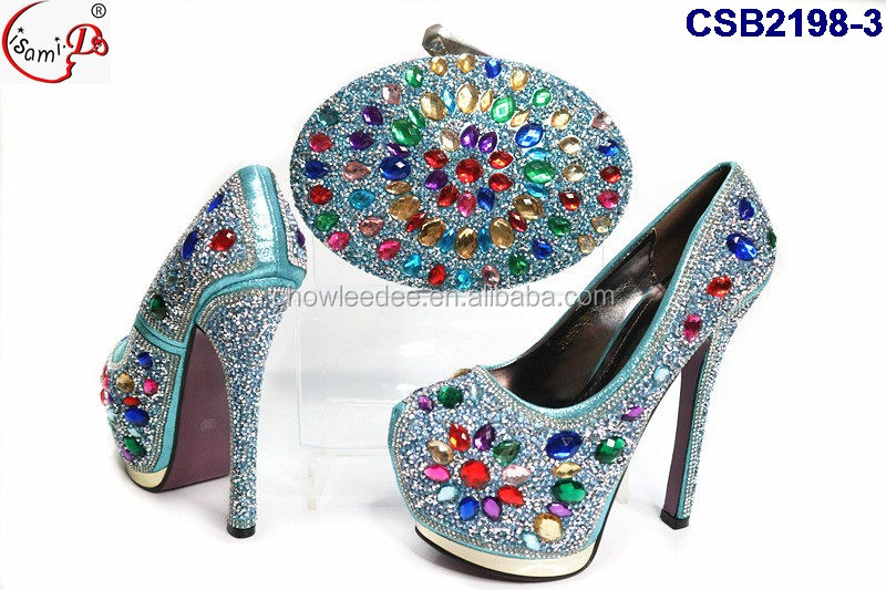 gray CSB2198 wedding stones italian ornament bag party shoes and heel set Many high 4 silver qwpZf