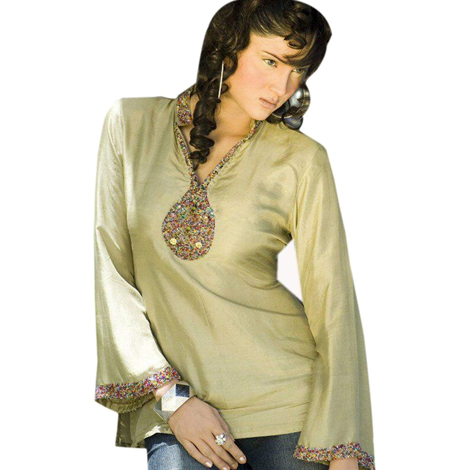 Jayayamala Ladies Rose Cotton Tunic 3//4 Sleeve Casual Top Dress