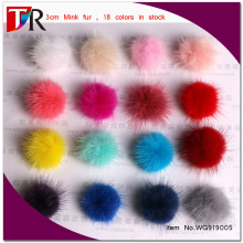 Wholesale Fur Accessory For Iphone And shoes, Cheap 3cm Genuine Mink Fur Ball Pom 18 Colors Available
