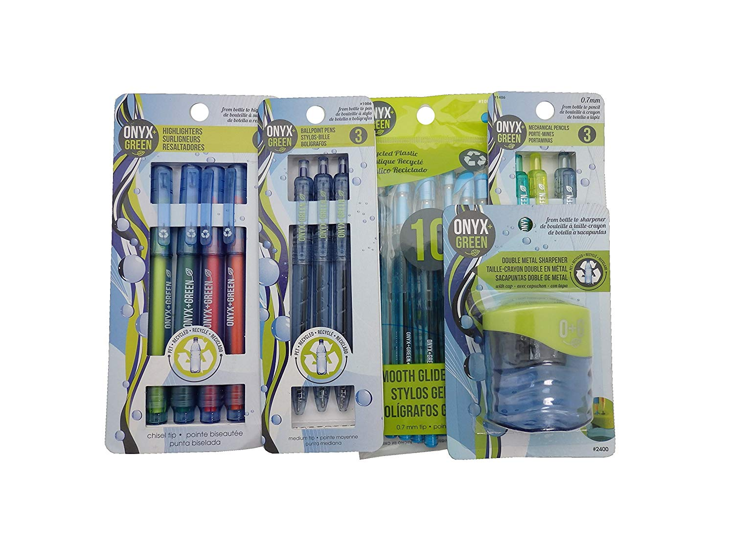Recycled Sustainable Materials Green Eco Friendly School Supplies Kit - Pen Pencils Sharpener - Made from Recycled Water Bottles