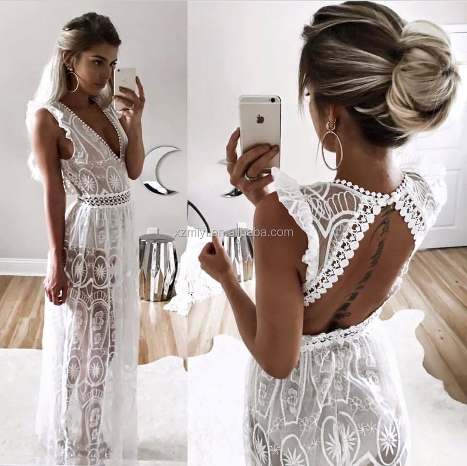 Witte hippie jurk