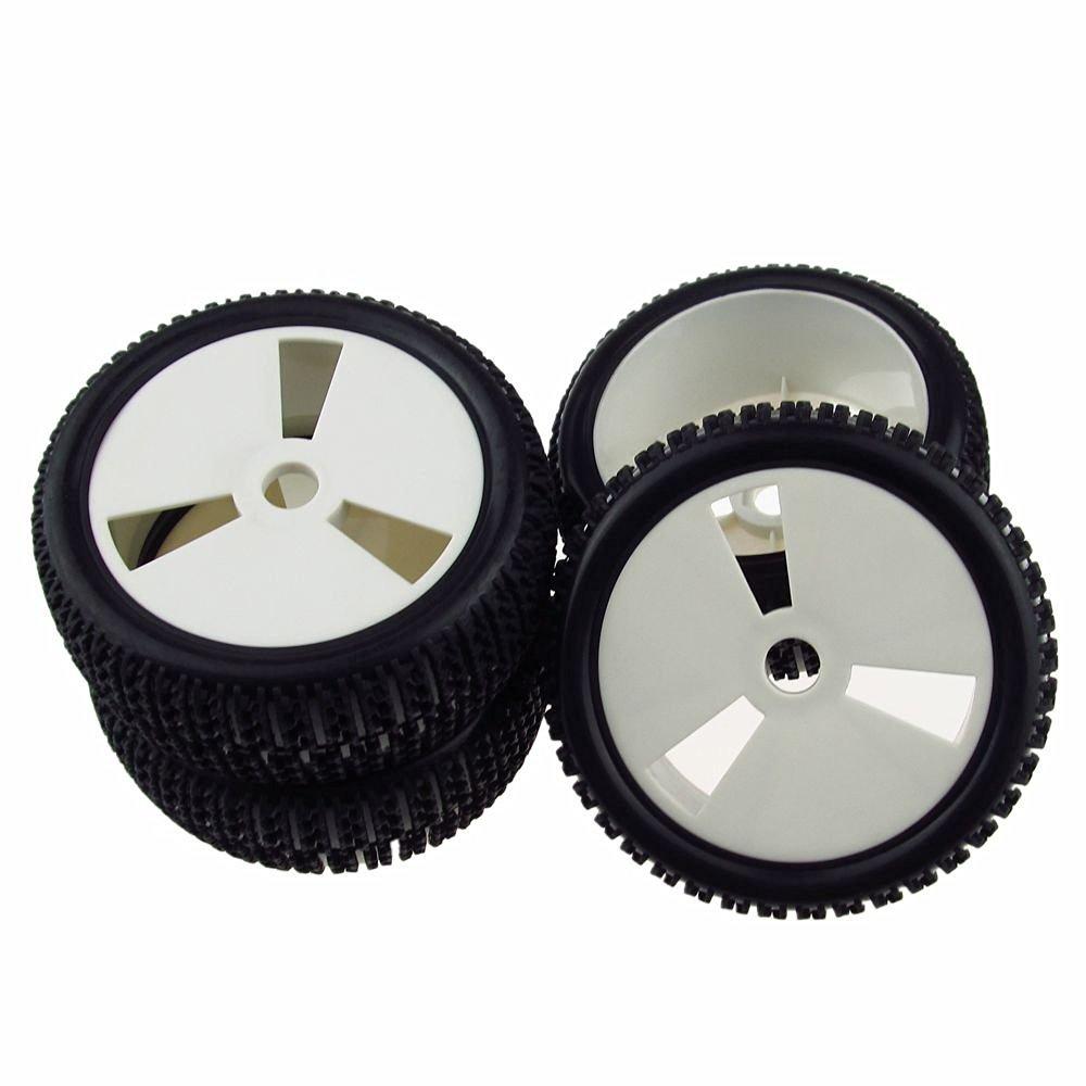 4pcs/set RC 1:8 Rally Monster Off-Road Rubber Tires Tyre & Gray Disc Shape Plastic Wheel Rim
