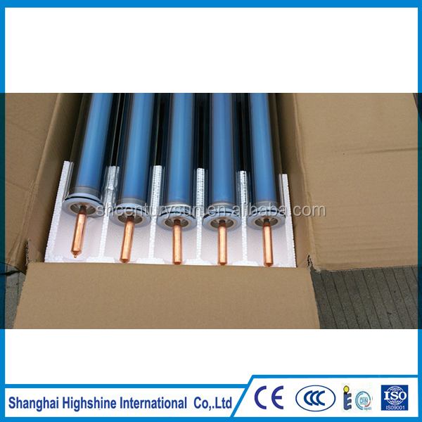 solar vacuum tube copper heat pipe with full aluminum fin set for the solar collector with solar keymark