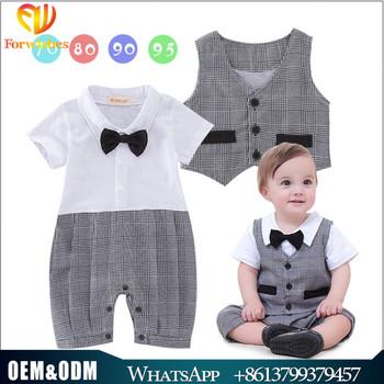 82cf8ecf190c8 Summer cotton newborn baby boy clothes gentleman plaid buttons vest romper  2pcs sets 18m birthday party