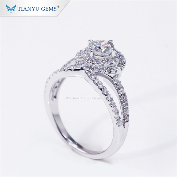 Tianyu luxury designer cross ring 925 sterling <strong>silver</strong> gold plated forever love cushion moissanite wedding ring