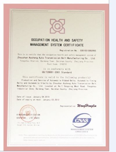 Occupation Health And Safety Management System Certificate