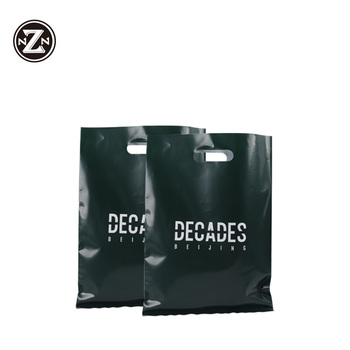 wholesale eco friendly hdpe ldpe black punch hole carry retail poly plastic packaging bags with custom printing own logo designs