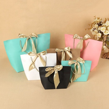 Factory Directly Wholesales Customer OEM Printing Paper Shopping Carrier Bags With Golden String Ribbon Handle