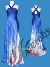 Custom printed watch X style strap silk chiffon prom types of night dresses