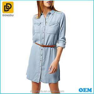 OEM light blue tencel denim button-up front shirt dress apperal with detachable woven belt for women