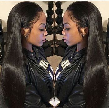 Factory Price Elastic Band Natural black Peruvian Human Virgin Hair Silky Straight Lace Front Wig For Woman