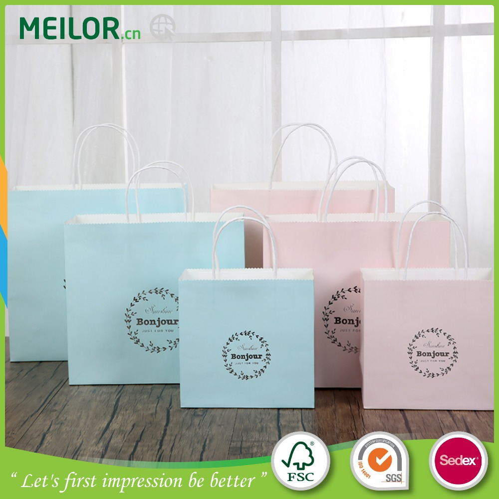 Custom logo recyclable gift paper bag with paper handle