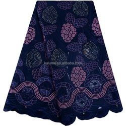 High Quality Cotton Lace Fabrics Newest Embroidery Swiss Cotton Lace Dress With Rhinestones For Party 1046