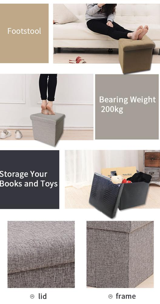 folding  storage  ottoman box bench living room furniture