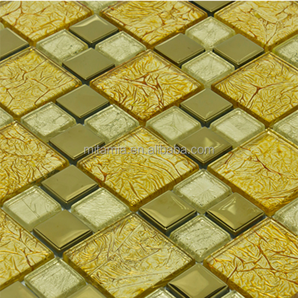 Glitter Gold Crystal Glass Mosaic Decorative Wall Tile Mirror Tile ...