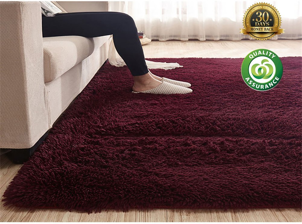 "HIGOGOGO Ultra Soft Shag Rug 78.74"" by 118.11"" Fluffy Rug for Bedroom Living Room Silky Smooth Fluffy Rugs Anti-Skid Shaggy Area Rug Dining Room Home Bedroom Carpet"