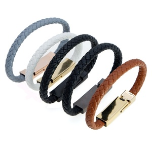 USB bracelet Braided leather bracelet USB cable sync Data charger cable for Apple for Android for Type C