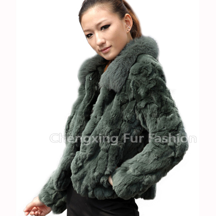 CX-G-A-70 Genuine Rex Rabbit Fur With Fox Fur Collar Custom Ladies Coat