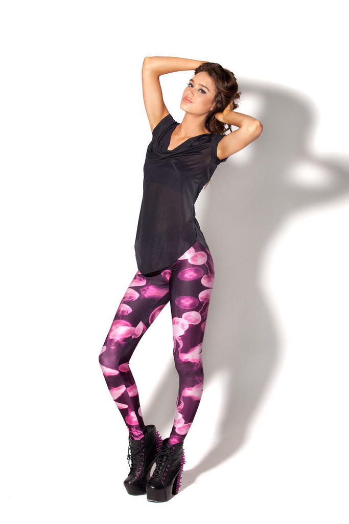 7b2488973389c Get Quotations · New Fashion 2014 Black Milk Women Leggings Digital Print  Pants Colored Jellyfish Leggings For Women WHOLESALE