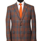 city life stylish high class custom made smooth handfeeling man coat grey plaid with orange lines warm wool men suit