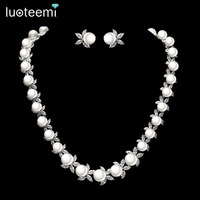 LUOTEEMI Wholesale New Design 2015 High Quality Women Elegant Sea Shell Pearl Luxury Bridal Wedding Jewelry Choker Necklaces