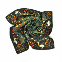 Factory Luxury Custom Digital Twill Silk Square Scarf 90x90 Printing