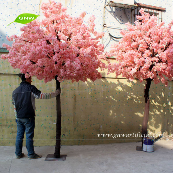 GNW BLS050 Indoor Artificial Wood trunk Cherry blossom Trees with Silk Flowers Wedding Tree Decoration