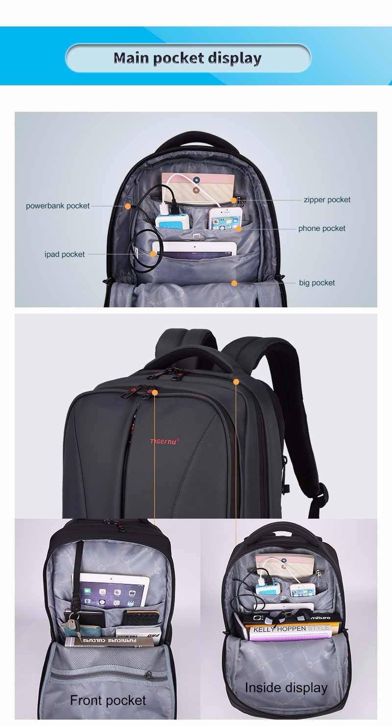 2017 Tigernu New waterproof usb charge 15.6inch laptop backpack men backpacks for teenage girls travel backpack bag for women