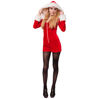 f711812c647 Adult Women Sexy Miss Santa Costumes For Christmas Party Fancy Dress Hooded  Velvet Jumpsuit Sc 1 St Alibaba