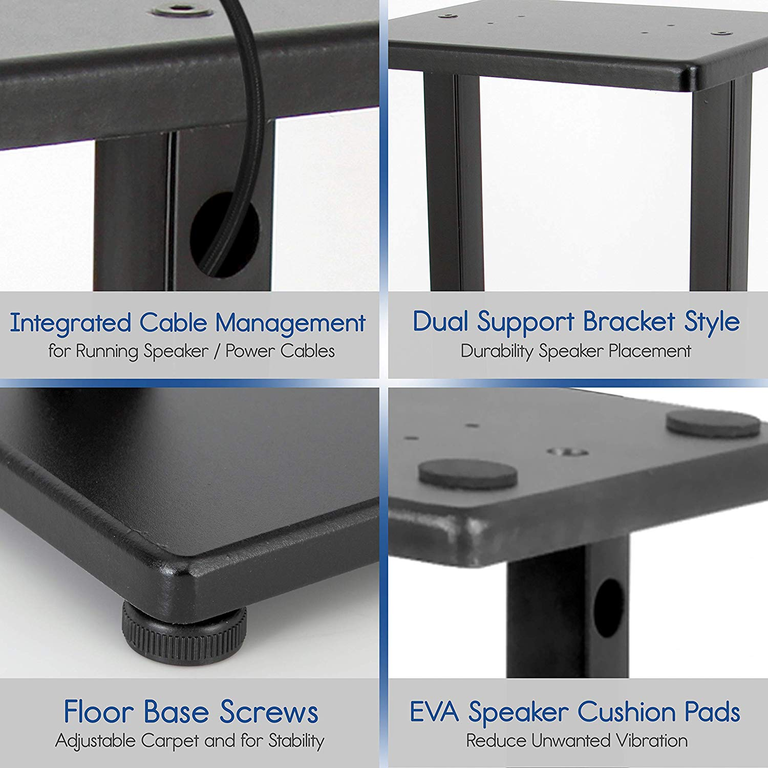 Som Speaker Stands-Pro Áudio Universal Heavy Duty Top Base de Placas de Aço para Casa