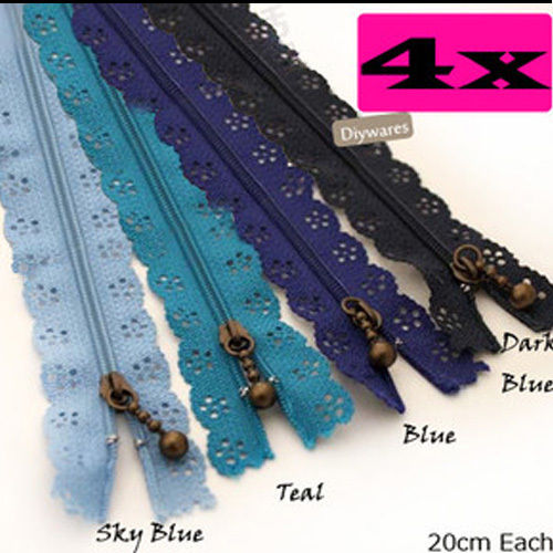 22CM Zippers Supplies Blueish Series Zip Purse Bags Making Wholesale